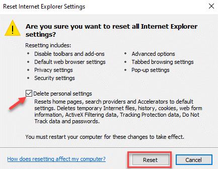Restablecer la configuración de Internet Explorer Eliminar la configuración personal Restablecer