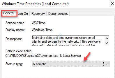 Propiedades de Windows Time General Tipo de inicio Automático