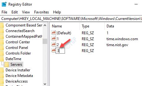 El editor del registro cambia el nombre del nuevo valor de cadena según los números del servidor de tiempo