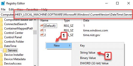 Editor del registro Navegue a los servidores Haga clic con el botón derecho en Nuevo valor de cadena
