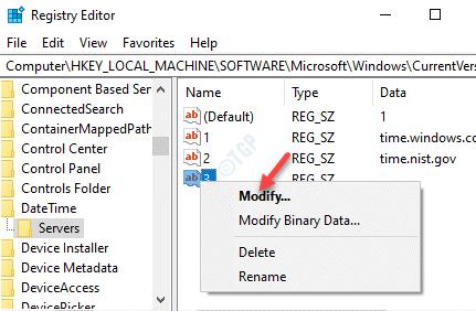 Editor del registro Nuevo valor de cadena Haga clic con el botón derecho en Modificar
