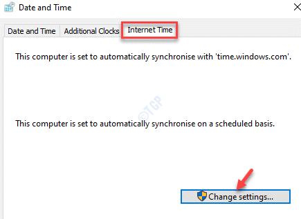 Configuración de cambio de hora de Internet de fecha y hora