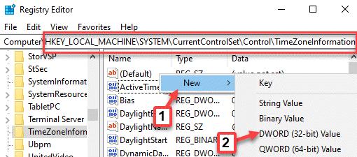 Editor del registro Navegue a la información de la zona horaria Haga clic con el botón derecho en Nuevo valor de Dword (32 bits)