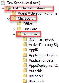 Programador de tareas (local) Biblioteca del programador de tareas Microsoft Windows