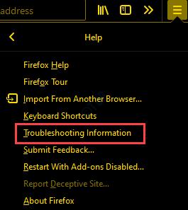 Información de resolución de problemas de la ayuda de Firefox