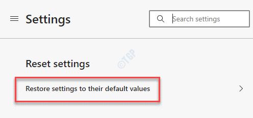 Configuración de Edge Restablecer configuración Restaurar la configuración a sus valores predeterminados