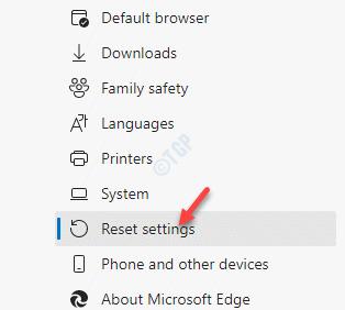Configuración de Edge Restablecer configuración