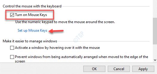 Controlar el mouse con el teclado Activar las teclas del mouse Configurar las teclas del mouse