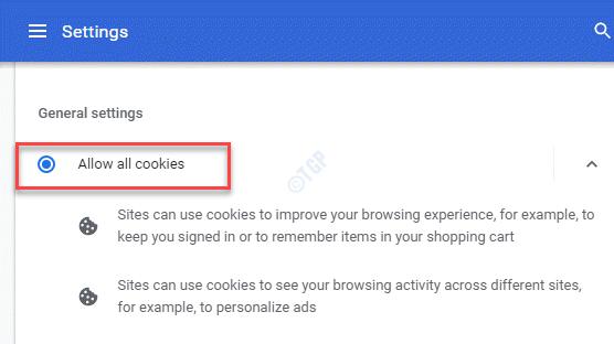 Cookies y otros datos del sitio La configuración general permite todas las cookies