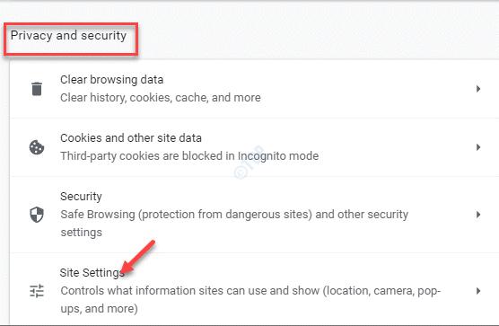 Configuración de Chrome Configuración del sitio de privacidad y seguridad