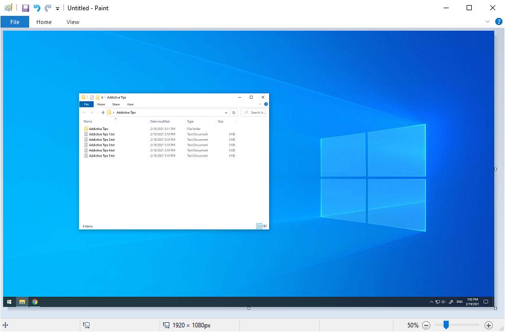 Windows 10 muestra Paint con una captura de pantalla completa