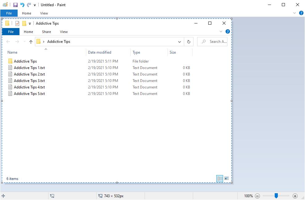 Windows 10 muestra Paint con una captura de pantalla de ventana activa