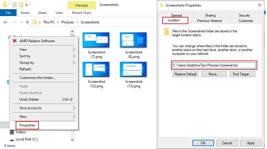 Windows 10 muestra cómo cambiar la ubicación predeterminada para las capturas de pantalla guardadas