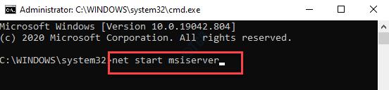 Símbolo del sistema Net Start Msiserver Enter