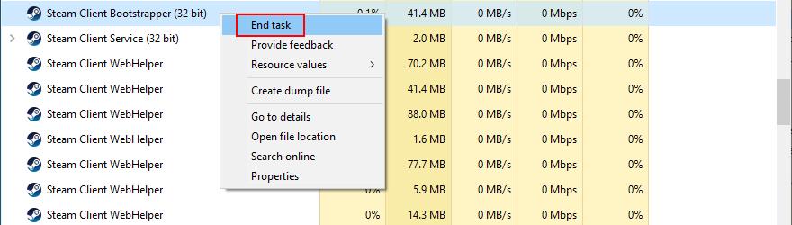 El Administrador de tareas muestra cómo finalizar las tareas de Steam.