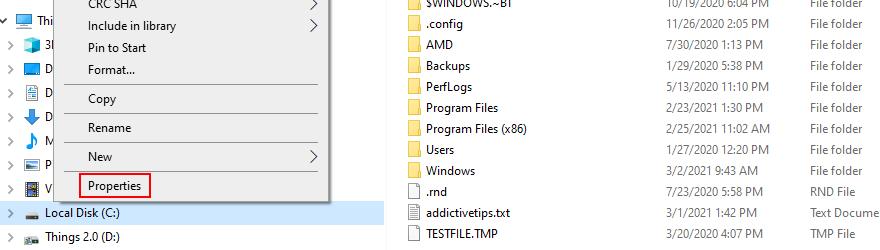 El Explorador de Windows muestra cómo acceder a las Propiedades de la unidad C: