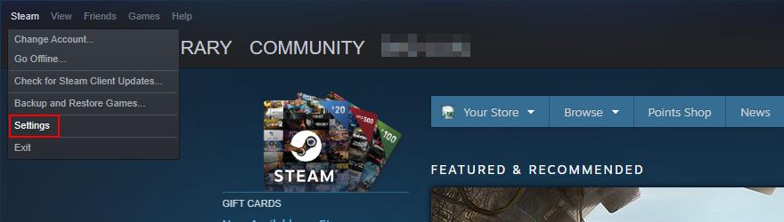 Steam muestra cómo acceder al menú Configuración