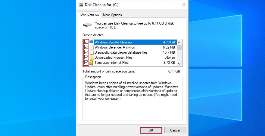 Windows 10 muestra cómo seleccionar archivos para el Liberador de espacio en disco