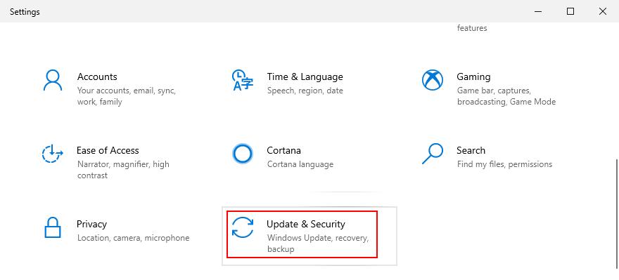Windows 10 muestra cómo acceder a la configuración de actualización y seguridad