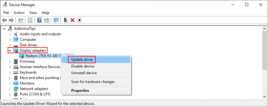 Windows muestra cómo actualizar los controladores del adaptador de pantalla en el Administrador de dispositivos