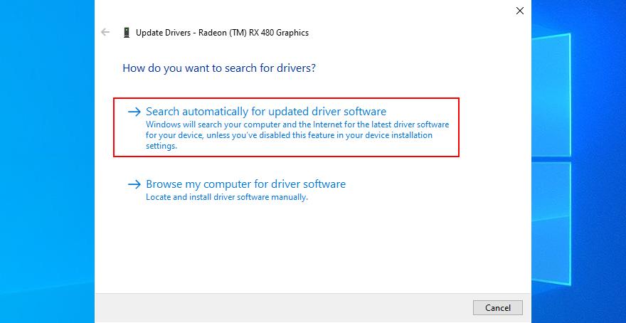 Windows 10 muestra cómo buscar automáticamente el software del controlador actualizado