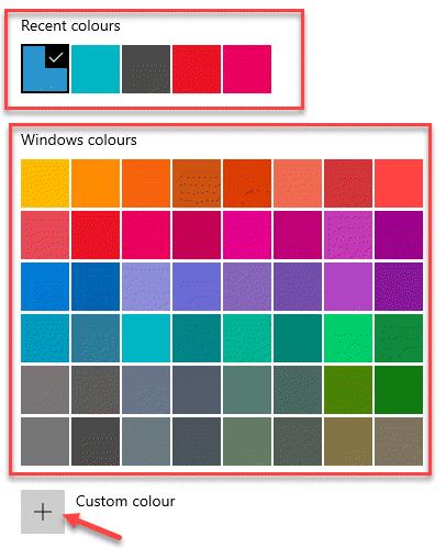 Colores recientes Colores de Windows Color personalizado