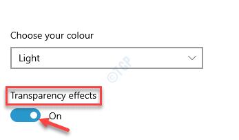 Elija sus efectos de transparencia de color Activar