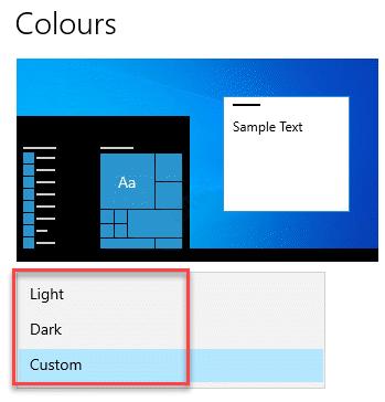 Configuración Personalización Colores Elija su color Claro, Oscuro o Personalizado