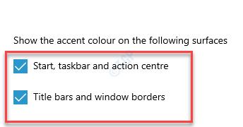 Muestre el color de acento en las siguientes superficies Inicio, barra de tareas y barras de título del centro de acción y bordes de ventanas