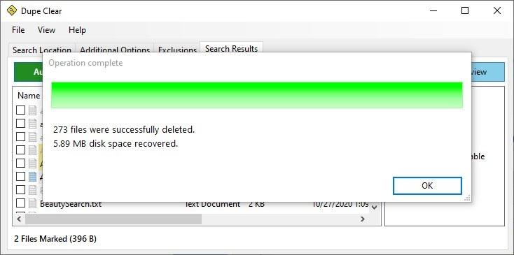 Dupe Clear archivos duplicados eliminados