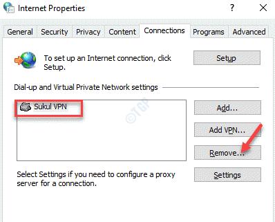 Conexiones de propiedad de Internet Vpn Eliminar
