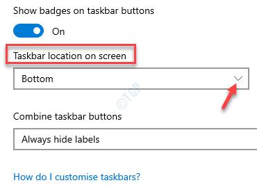 Configuración de la barra de tareas Ubicación de la barra de tareas en la pantalla Cambiar campo