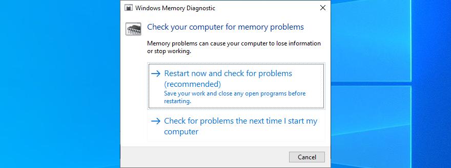 Reinicie su PC para ejecutar Windows Memory Diagnostic