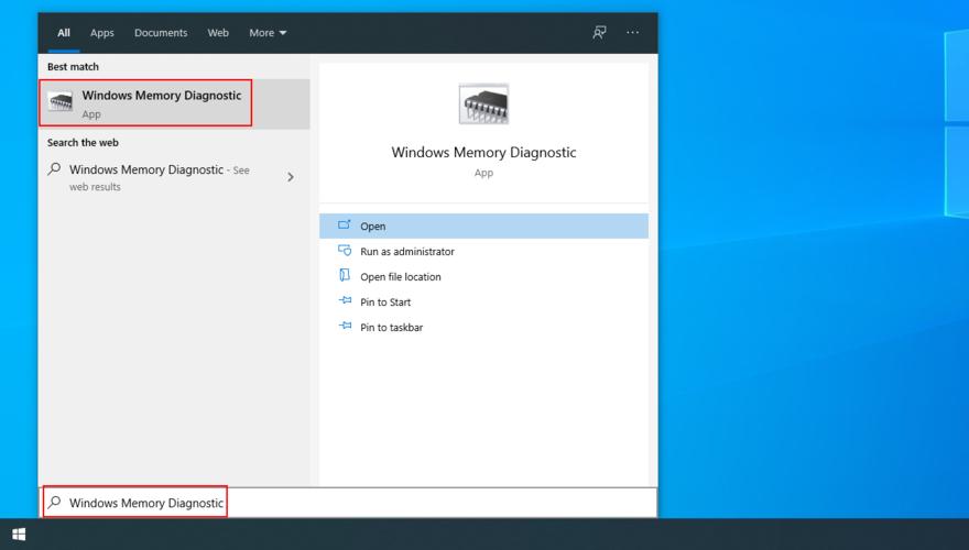El menú Inicio muestra cómo acceder al diagnóstico de memoria de Windows