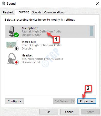 Propiedades del micrófono de grabación de sonido