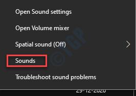 Icono de altavoz de la barra de tareas Sonidos de clic derecho
