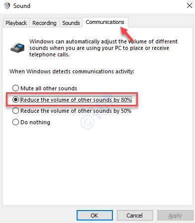 Las comunicaciones de sonido reducen el volumen de otros sonidos en 80 ok