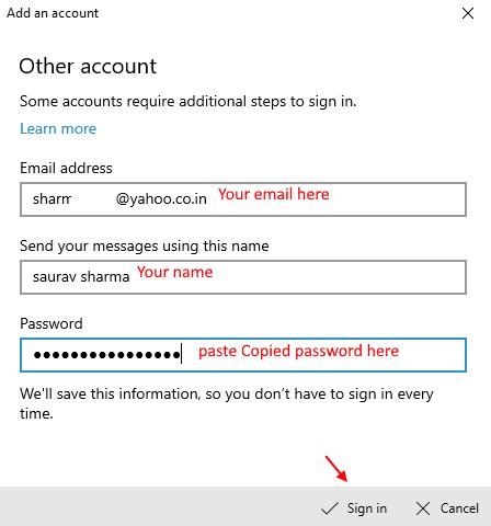 Agregar correo de Yahoo aquí como mínimo