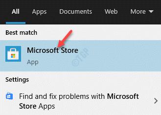 Resultado Haga clic con el botón izquierdo en Microsoft Store
