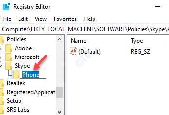 Políticas del editor de registro Skype Cambiar el nombre del nuevo teléfono clave