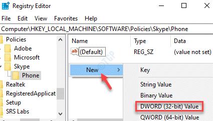 Editor de registro Teléfono del lado derecho Nuevo valor de Dword (32 bits)