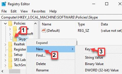Políticas del editor de registro Nueva clave de Skype