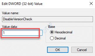 Disableversioncheck Editar Dword Valor Valor Datos 1 Ok