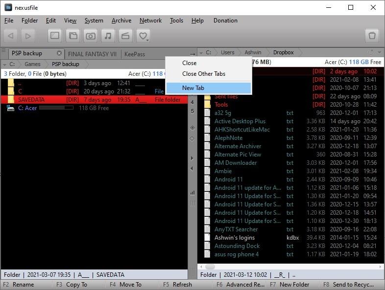 Barra de pestañas de archivos NexusFile