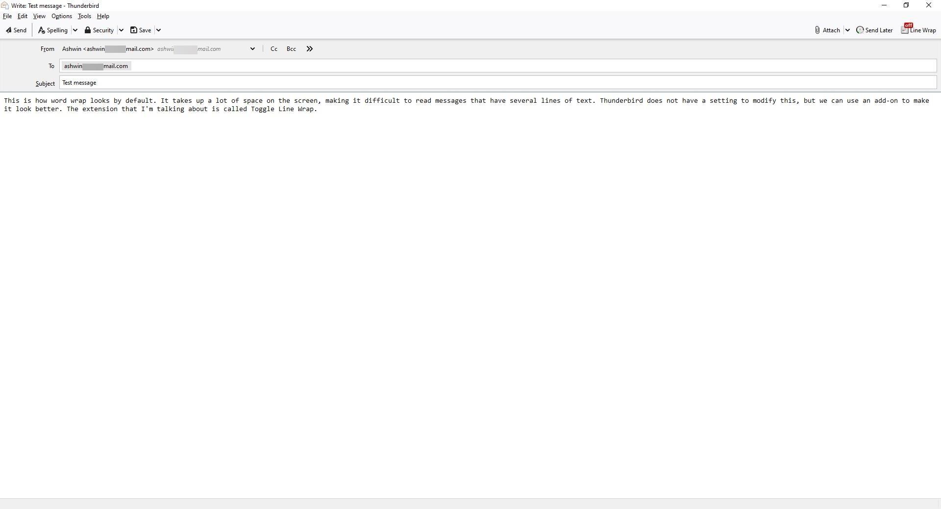 Habilite el ajuste de palabras adecuado en Thunderbird usando la extensión Toggle Line Wrap