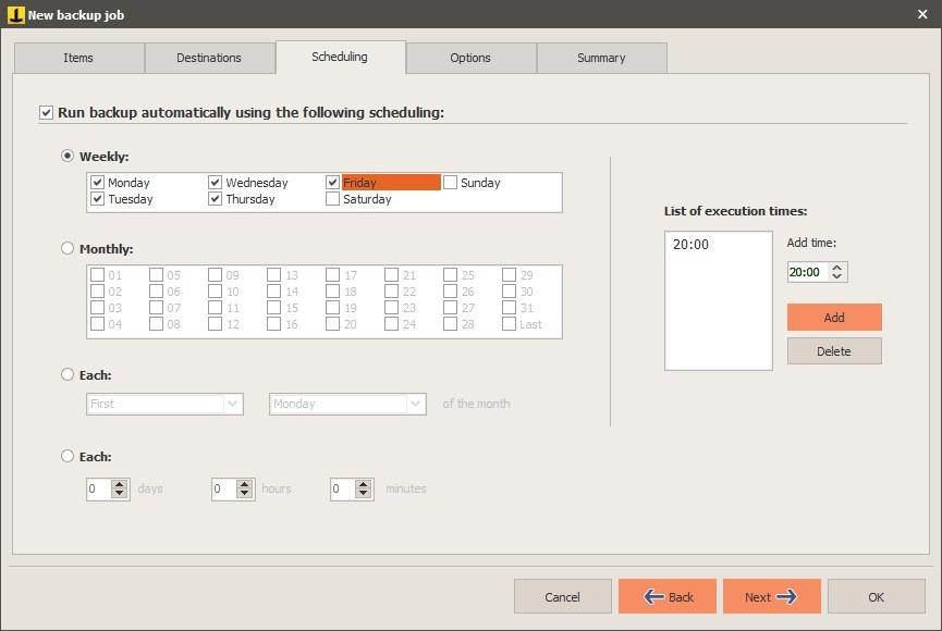 Nueva tarea de Iperius Backup: programación