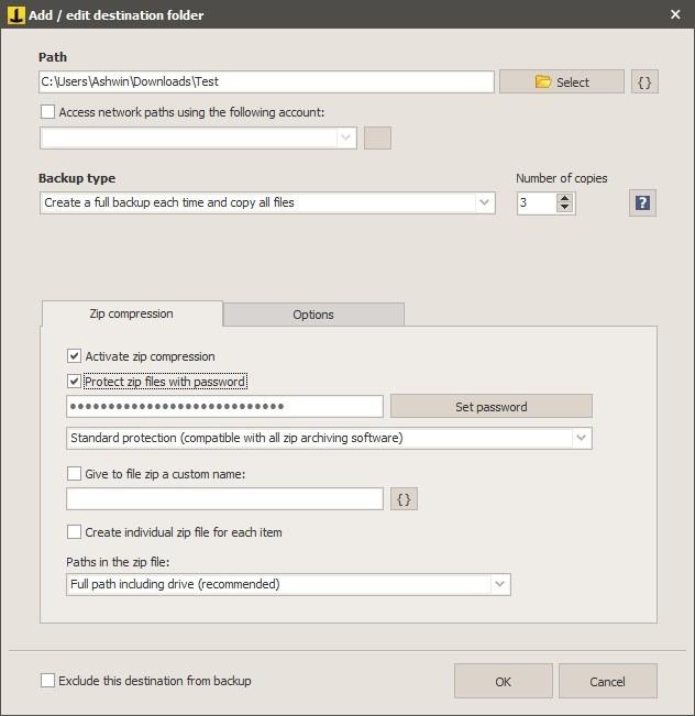 Nueva tarea de Iperius Backup - seleccionar destino