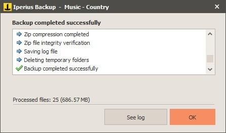 Nueva tarea de Iperius Backup - resumen
