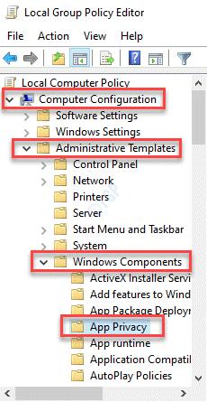 Editor de políticas de grupo local Configuración del equipo Plantillas administrativas Componentes de Windows Privacidad de la aplicación