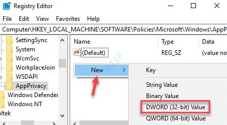 Aplicación del editor de registro Lado derecho Haga clic con el botón derecho en Nuevo valor de Dword (32 bits)